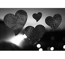 Four love hearts in silhouette night bokeh dof photo Photographic Print