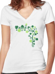 Shamrock clovers Women's Fitted V-Neck T-Shirt