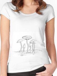 Mushroom on wood Women's Fitted Scoop T-Shirt
