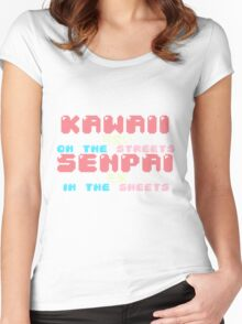 ♡ KAWAII on the streets, SENPAI in the sheets ♡ (3) Women's Fitted Scoop T-Shirt