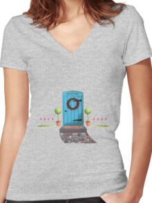 Welcome Blue Door and Stone Pathway Women's Fitted V-Neck T-Shirt