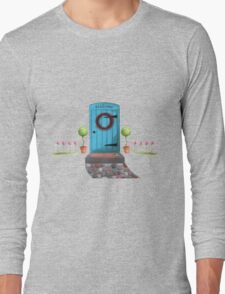 Welcome Blue Door and Stone Pathway Long Sleeve T-Shirt
