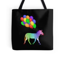 Rainbow Party Zebra - Now with Balloons! Tote Bag