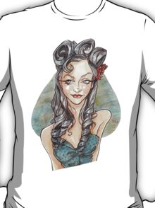 Pin Up Girl with a Blue Heart T-Shirt