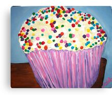 """Vanilla Cupcake With Sprinkles"" Canvas Print"