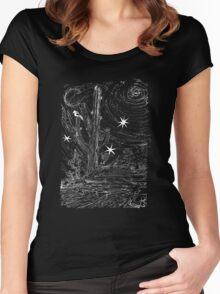 Moon lite desert night Women's Fitted Scoop T-Shirt