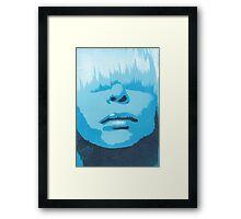 Face & Fringe Blue Framed Print