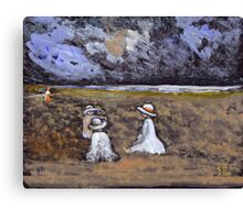 Children on a beach Canvas Print