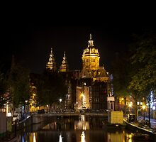 Amsterdam night: Church of Saint Nicholas by enolabrain