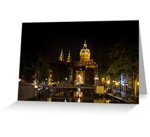 Amsterdam night: Church of Saint Nicholas Greeting Card