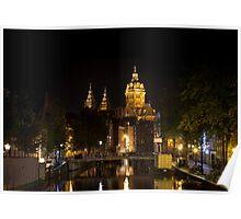 Amsterdam night: Church of Saint Nicholas Poster