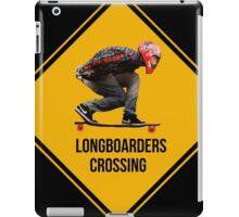 Longboarders crossing caution sign. iPad Case/Skin