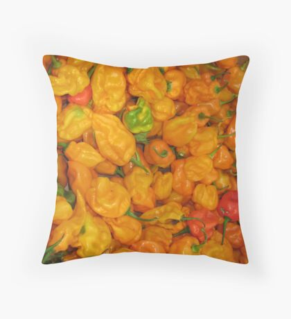 fire at the farmers market Throw Pillow