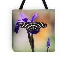 Zebra Longwing on Iris  Tote Bag