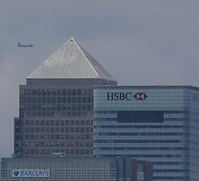 Boeing B.17 over Canary Wharf by Hertsman