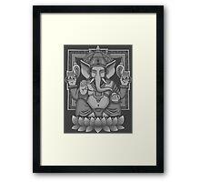 Ganesh White Halftone Framed Print