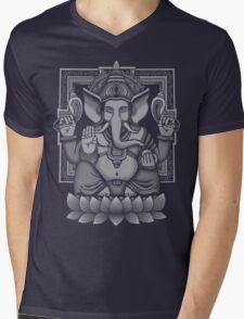 Ganesh White Halftone Mens V-Neck T-Shirt