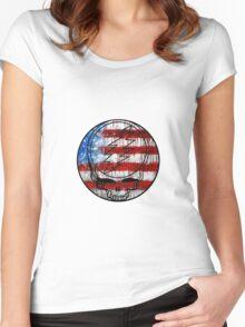 Grateful Dead Deadhead American Flag Women's Fitted Scoop T-Shirt