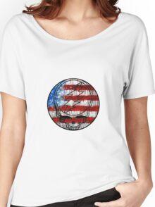 Grateful Dead Deadhead American Flag Women's Relaxed Fit T-Shirt