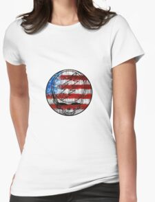 Grateful Dead Deadhead American Flag Womens Fitted T-Shirt