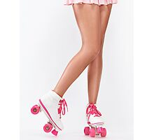 Young woman long legs in pink roller skates art photo print Photographic Print