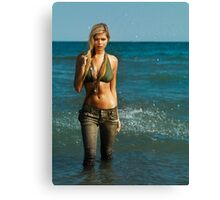 Young woman walking out of water art photo print Canvas Print