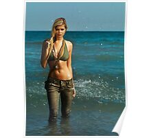 Young woman walking out of water art photo print Poster