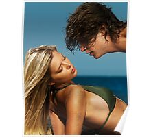 Young beautiful couple kissing on the beach art photo print Poster