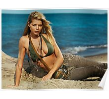 Beautiful young blond woman on the beach art photo print Poster