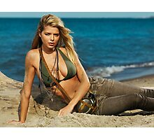 Beautiful young blond woman on the beach art photo print Photographic Print