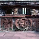 Memorial tomb in Ruins of old sanctuary of church Lanercost Priory Cumbria England 198405260037 by Fred Mitchell