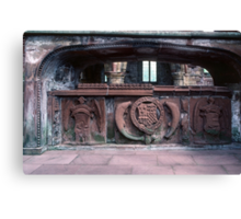 Memorial tomb in Ruins of old sanctuary of church Lanercost Priory Cumbria England 198405260037 Canvas Print