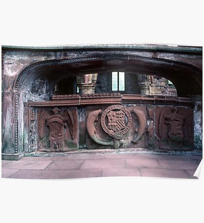 Memorial tomb in Ruins of old sanctuary of church Lanercost Priory Cumbria England 19840526 0037 Poster