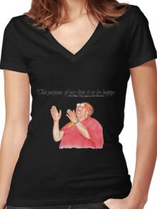 Be Happy Women's Fitted V-Neck T-Shirt
