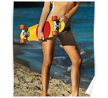 Girl with skateboard on the beach art photo print Poster