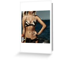 Artistic portrait of a girl with skateboard at the beach art photo print Greeting Card
