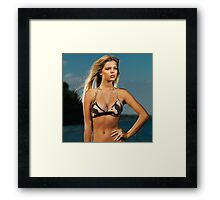 Beautiful young blond woman at the beach art photo print Framed Print