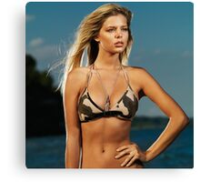 Beautiful young blond woman at the beach art photo print Canvas Print