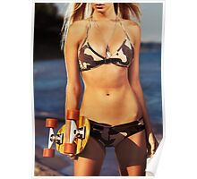 Girl in bikini with a skateboard at the beach art photo print Poster