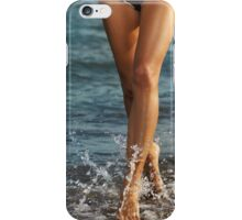 Young woman running along the beach art photo print iPhone Case/Skin
