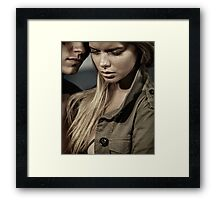 Dramatic closeup romantic portrait of a couple Black and white art photo print Framed Print