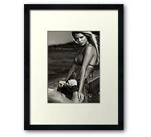 Sensual dramatic black and white portrait of a sexy couple at a sandy beach art photo print Framed Print