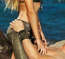 Sexy young couple making love on the beach art photo print by ArtNudePhotos