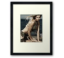 Artistic portrait of sexy young woman and man on the beach art photo print Framed Print