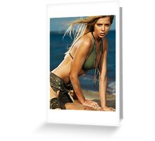 Sexy young woman and a man on the beach art photo print Greeting Card