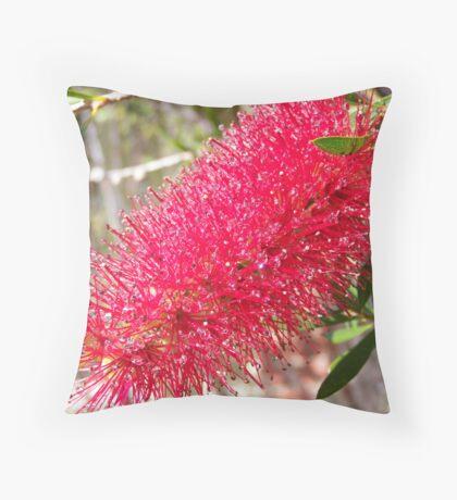 Red BottleBrush Throw Pillow
