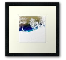 Landscape abstract, blue gold and white Framed Print