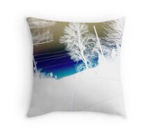 Landscape abstract, blue gold and white Throw Pillow