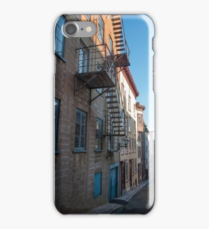 Old Quebec: Early Morning Fire Escapes iPhone Case/Skin