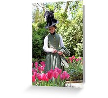 A Colonial Lady in Her Garden Greeting Card